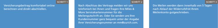 Zurich Miles & More Meilengutschrift