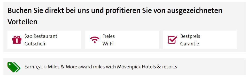 Mövenpick Hotel mit 1.500 Miles & More Meilen