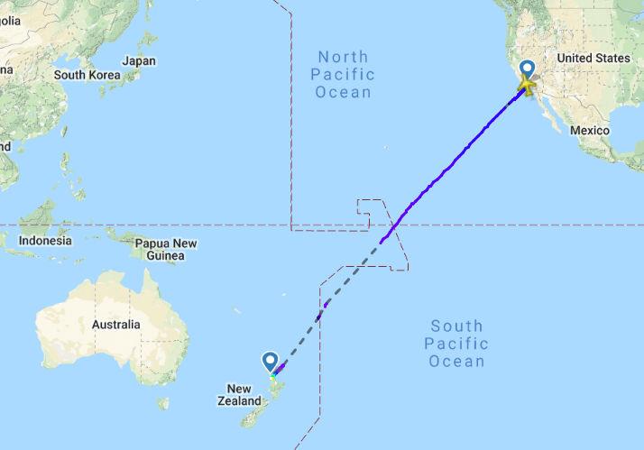 Die Route von Los Angeles nach Auckland ohne Umwege