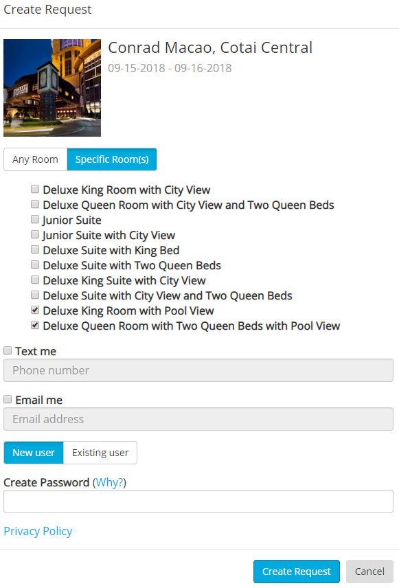 Benachrichtigung erstellen sobald das gewünschte Zimmer verfügbar ist - per Email oder SMS