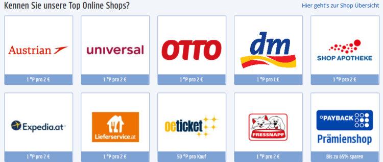 Darstellung der Payback Österreich Top Online Shops in Kachelform