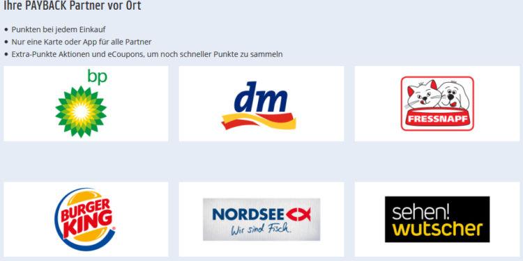 Bildliche Auflistung der Payback Österreich Partner vor Ort