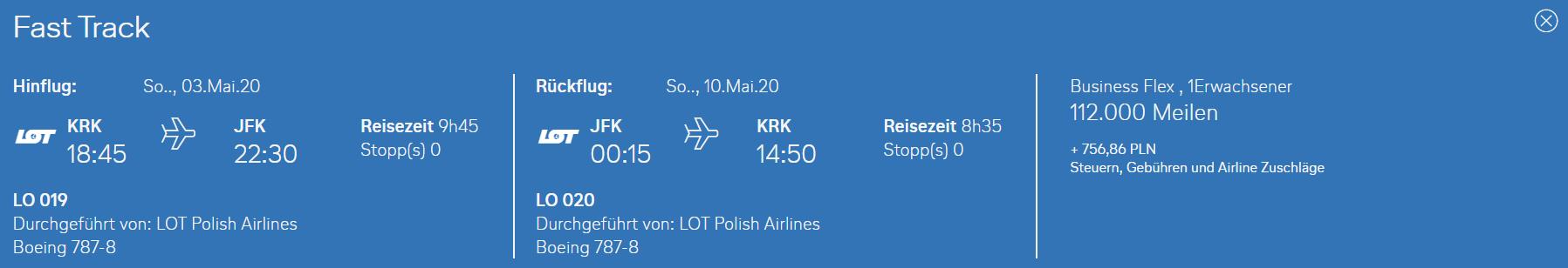 Prämienflug für die neue LOT Vrbindung von Krakau nach New York