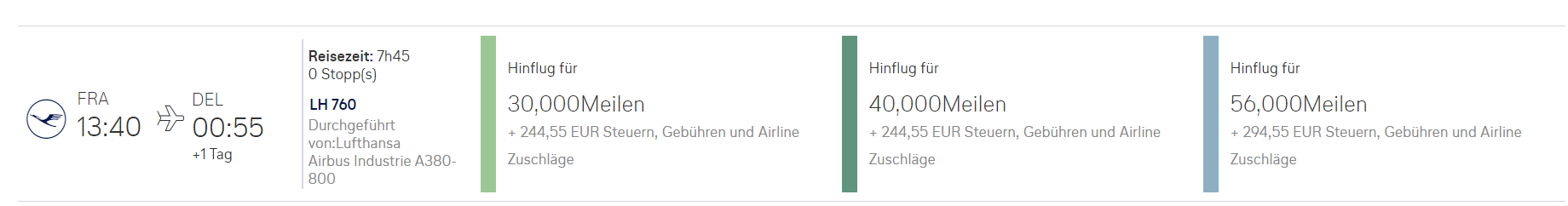 Prämienflug mit Lufthansa bei Miles & More für Frankfurt - Delhi
