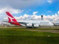 qantas a380 flugzeug london heathrow flughafen