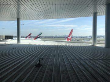 qantas international business lounge sydney blick dach