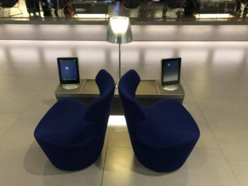 Qatar Airways Al Mourjan Business Class Lounge Sitzsessel in der Lounge