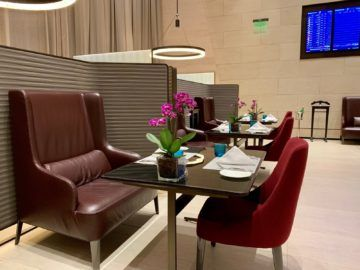 qatar airways al safwa first class lounge doha restaurant tisch