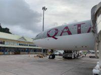 qatar airways boeing 777 flugzeug mahe airport