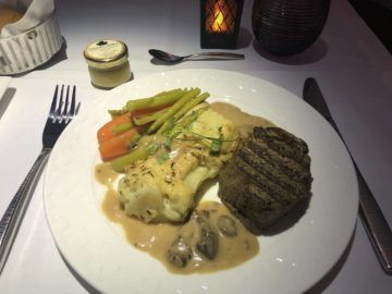 qatar airways business class a380 beef steak