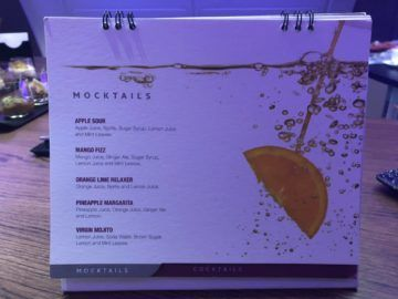 qatar airways business class a380 mocktails