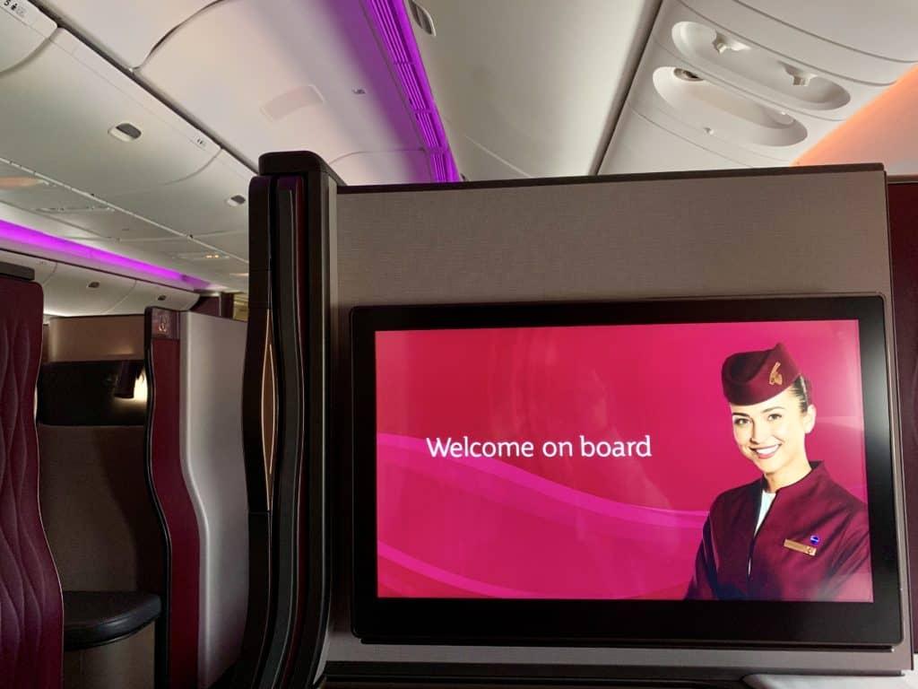 Qatar Airways Qsuite Boeing 777-300ER Monitor