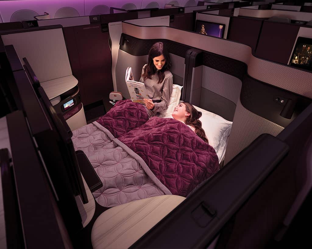 qatar airways qsuite business clas doublebed