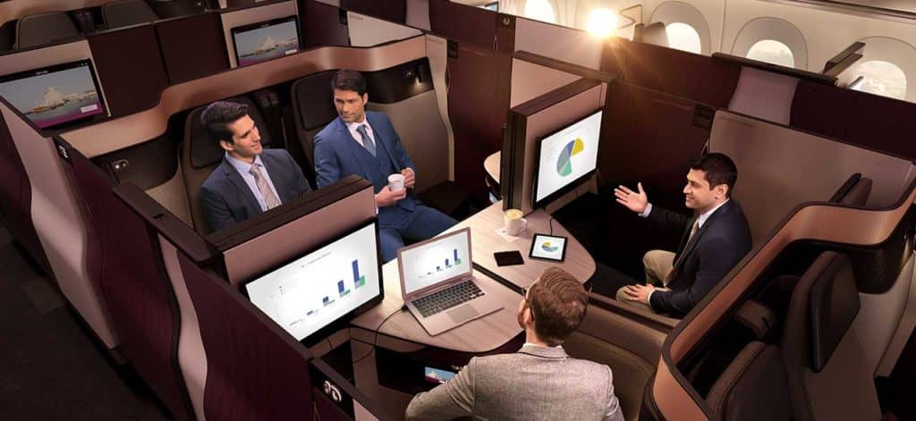 qatar airways qsuite business class quad