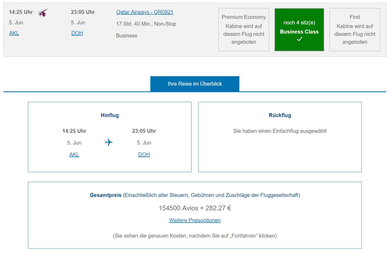 qatar praemienflug business class akl doh avios