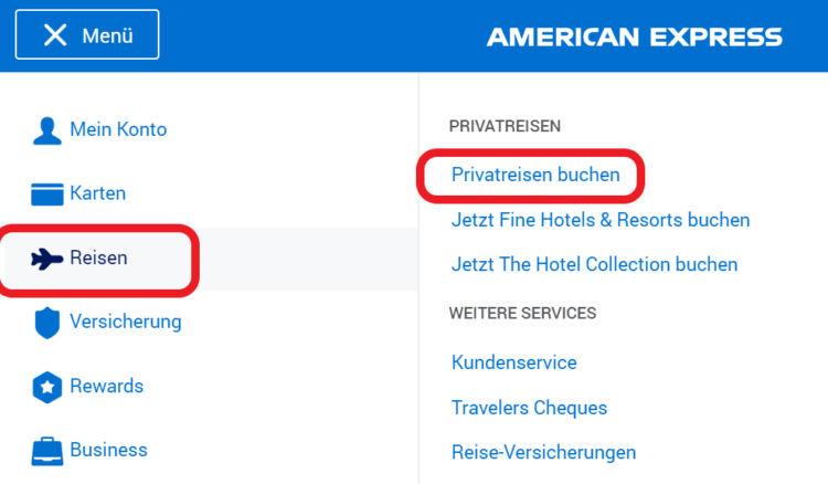 200 Euro Reiseguthaben der American Express Platinum - Login zum Buchungsportal