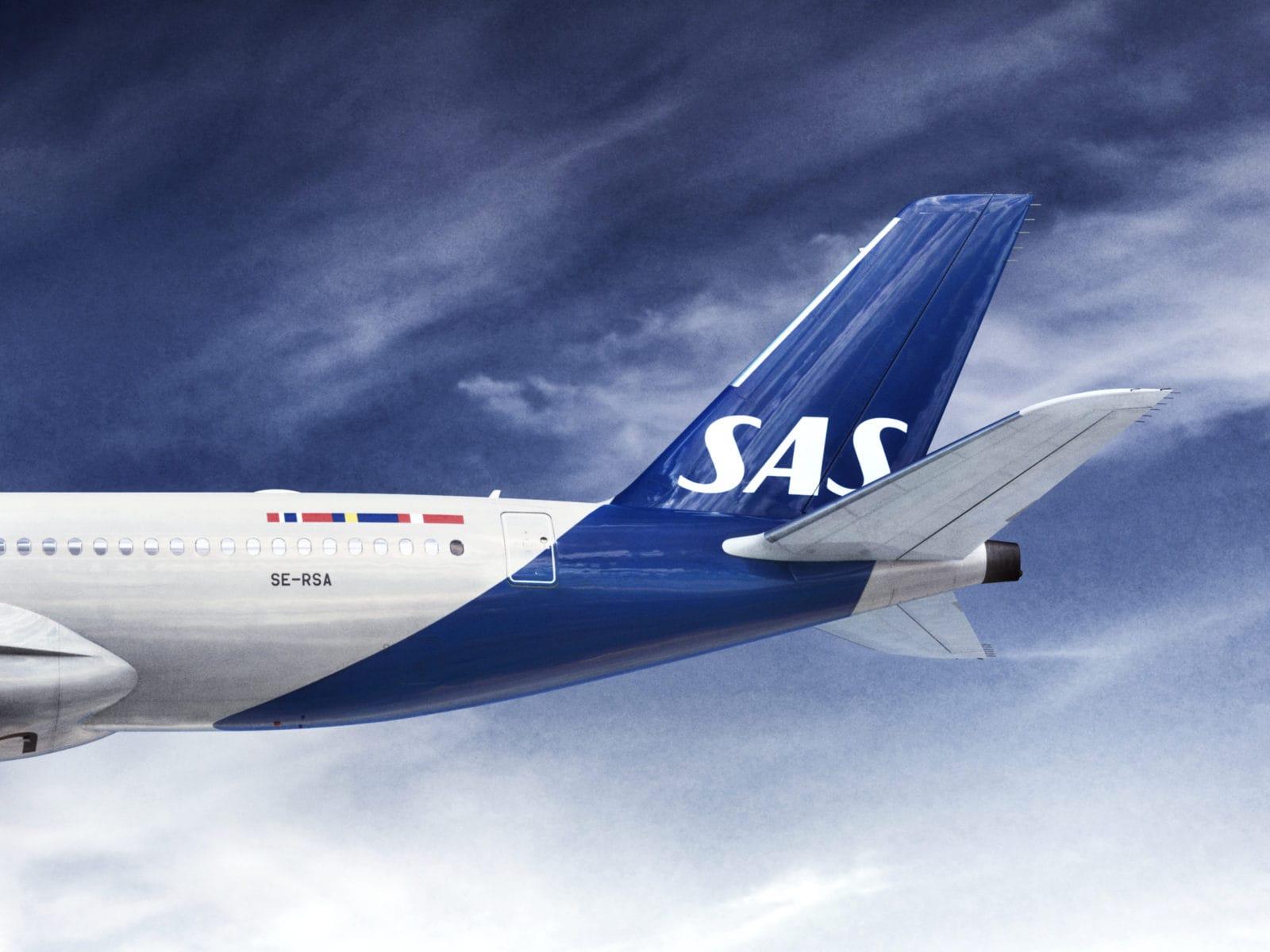 Heck eines SAS A350 in blauer Lackierung