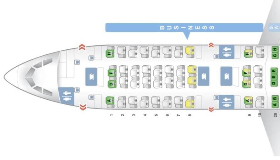 sas business class a340 sitzplan
