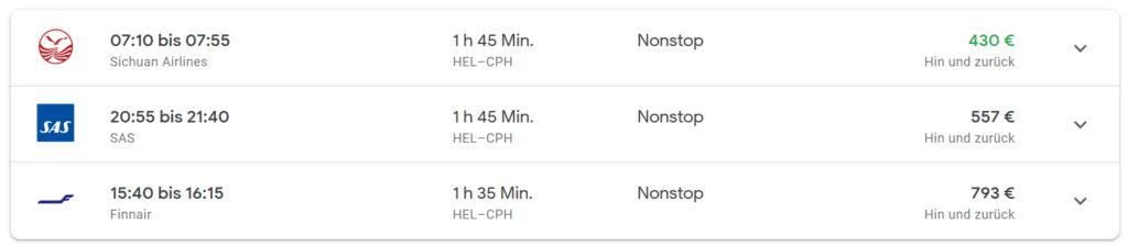 Sichuan Airlines Business Class Helsinki nach Kopenhagen