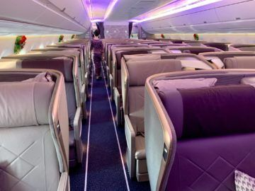 singapore airlines business class a350 900ulr kabine hinten 1