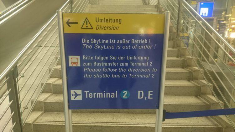 sky line gesperrt am frankfurt flughafen