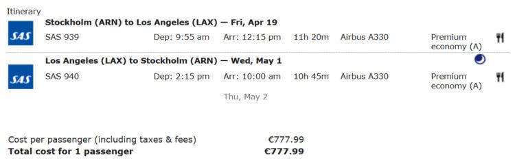 Ein SAS Premium Economy Flug von Stockholm nach Los Angeles und zurück bringt über 22.000 Statusmeilen bei Aegean Miles+Bonus