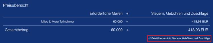 Steuern und Gebühren auf einem Miles & More Prämienflug von Frankfurt nach New York (Economy return) in Höhe von 419€