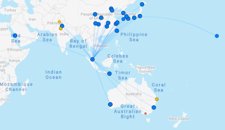 Streckennetz der AirAsia X ab Kuala Lumpur