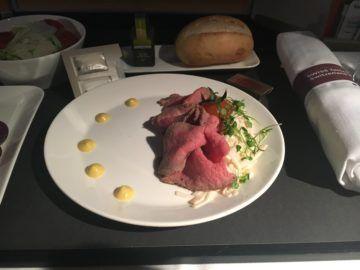 swiss business class 777 300er essen vorspeise rueckflug 2