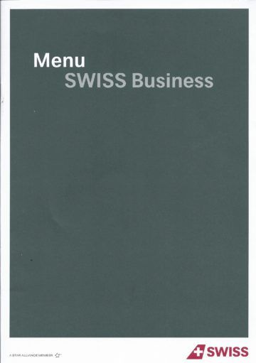 Swiss Business Class Menü von Zürich nach Los Angeles