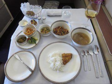 thai airways first class boeing 747 essen minced chicken