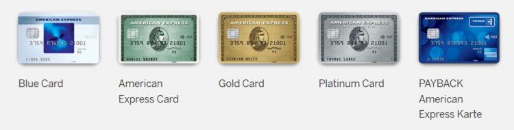 welche american express kreditkarten gibt es